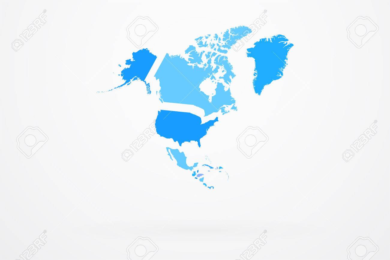 north america continent map with countries royalty free cliparts