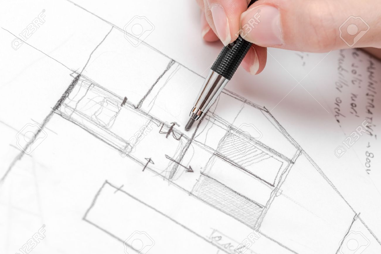 Architect Hand Drawing House Plan Sketch With Pencil Stock Photo ...
