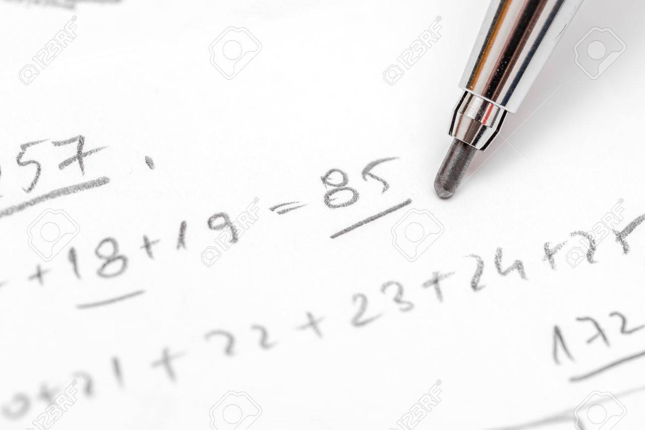 Resolving Algebra Equations Test On Paper With Pencil Stock Photo ...