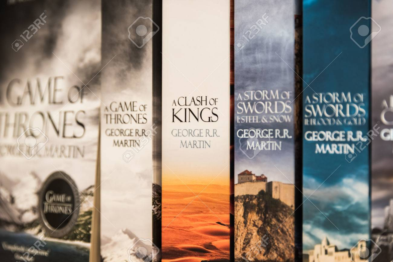 BUCHAREST, ROMANIA - MARCH 16, 2015: Game Of Thrones Books For