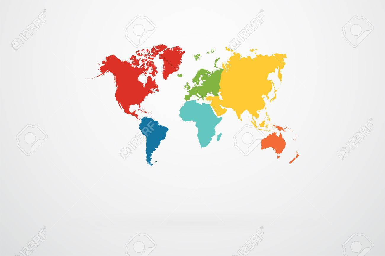 World map vector with continent border in retro color palette vector world map vector with continent border in retro color palette gumiabroncs Image collections