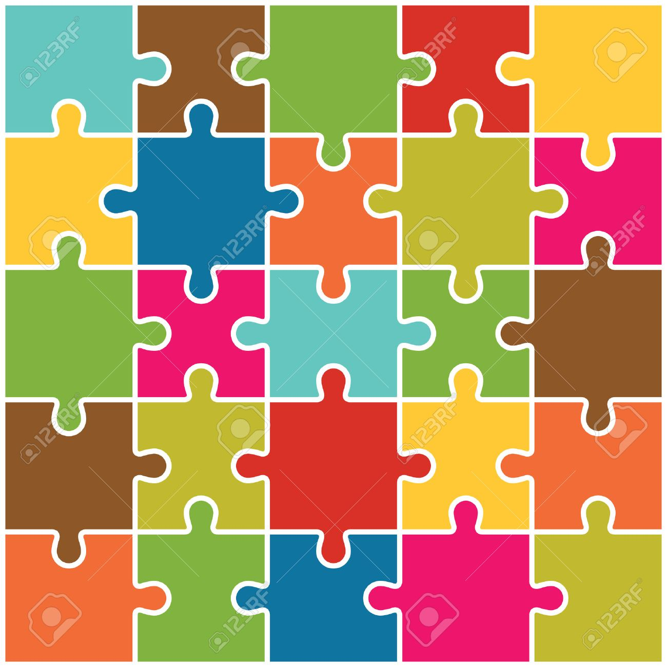 Jigsaw Puzzle Pieces Background Vector - 38160456