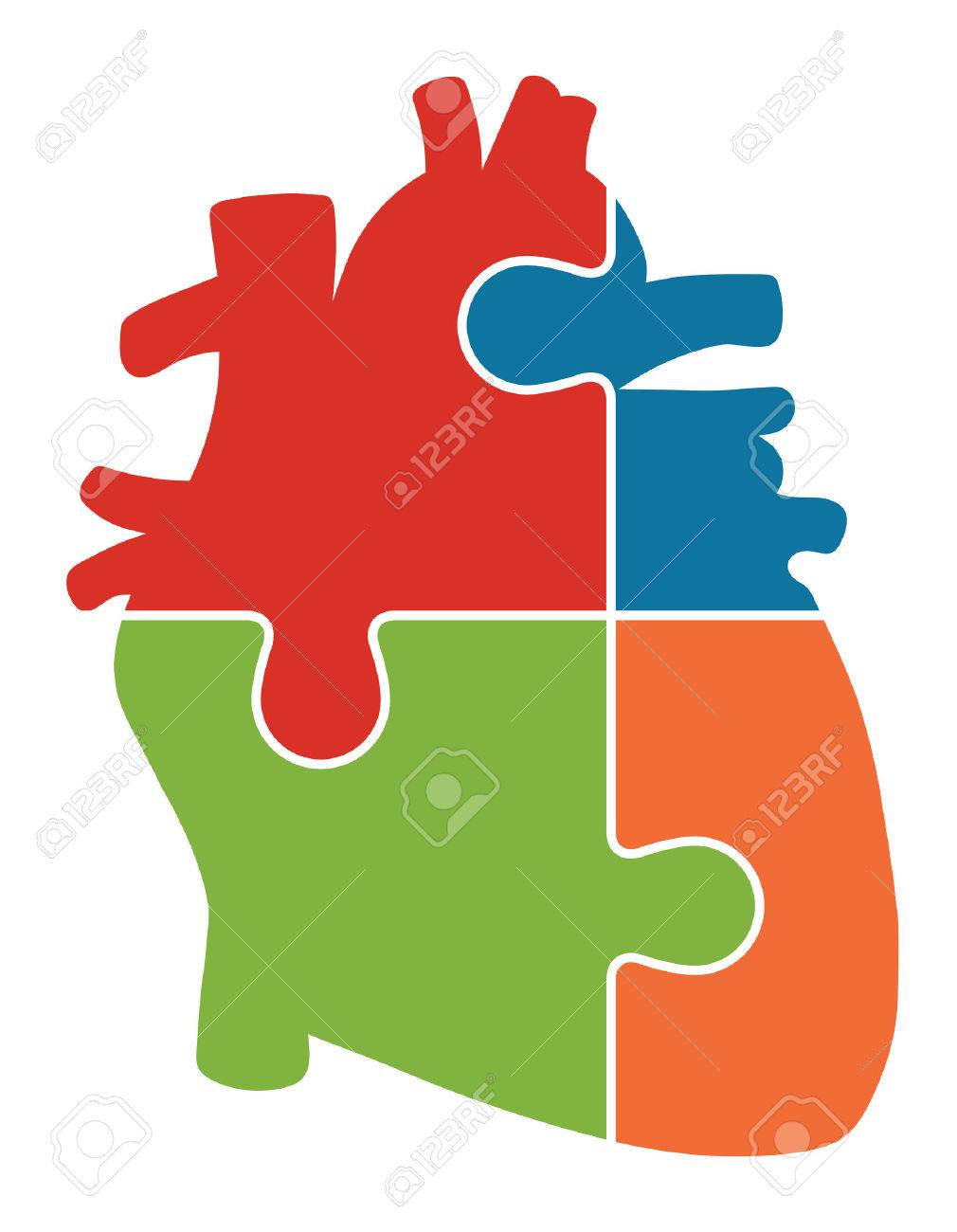 Human Heart Jigsaw Puzzle Pieces Abstract Stock Vector