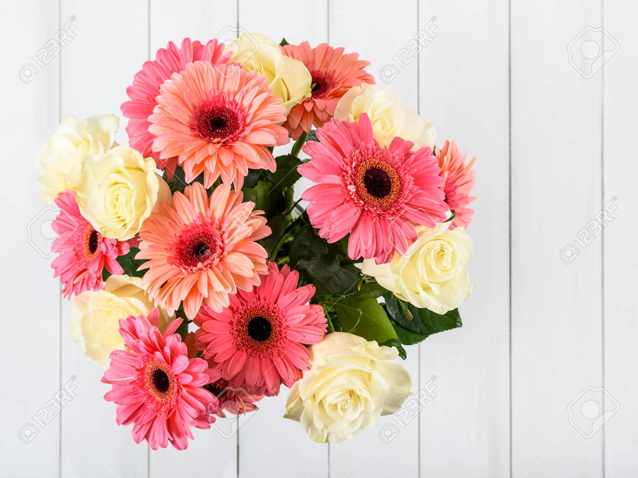 Pink Gerbera Daisy Flowers And White Roses Bouquet Stock Photo