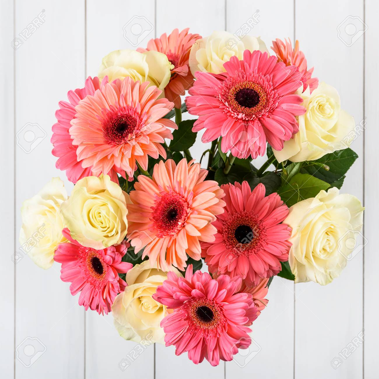 Pink Gerbera Daisy Flowers And White Roses Bouquet Stock Photo, Picture And  Royalty Free Image. Image 68745453.