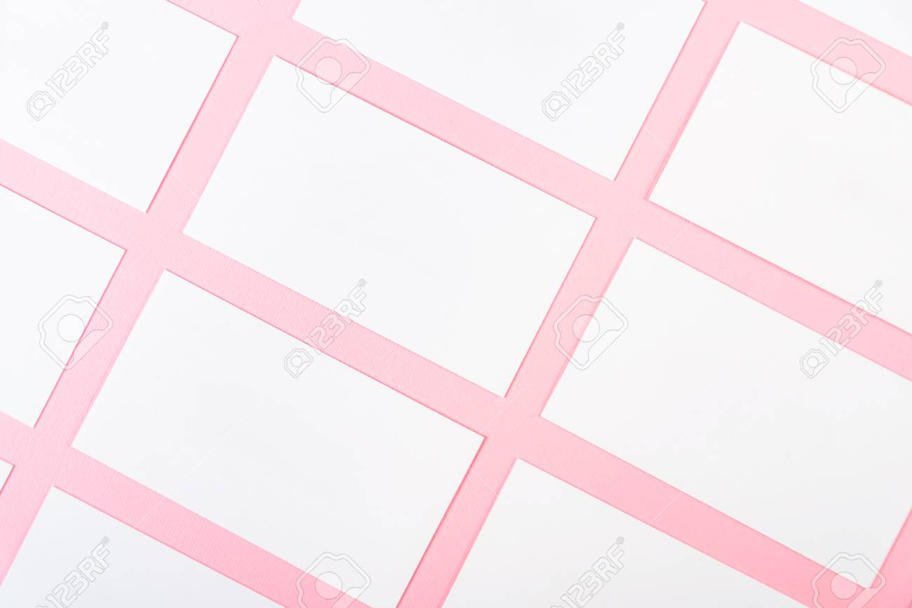 White Blank Business Cards On Pink Background With Fine Paper ...