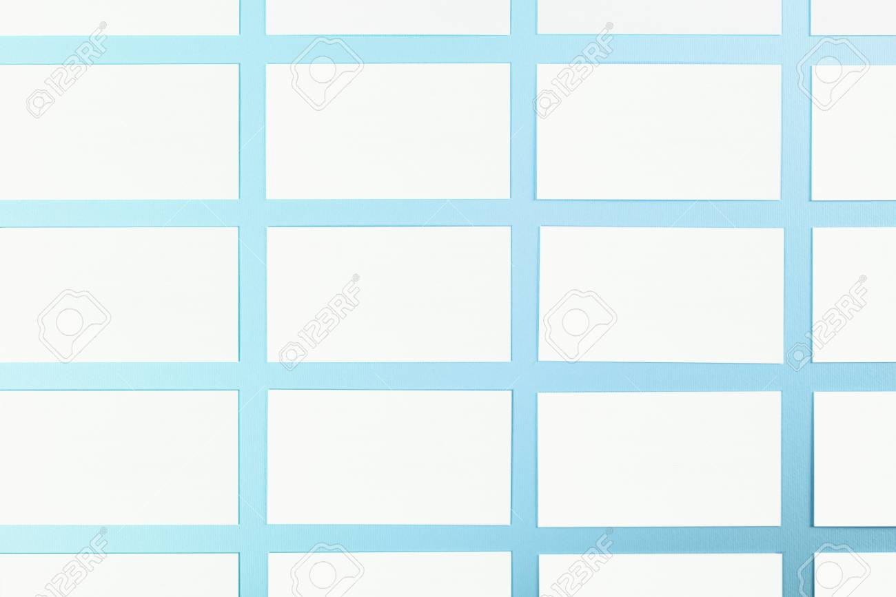 White Blank Business Cards On Blue Background With Fine Paper ...