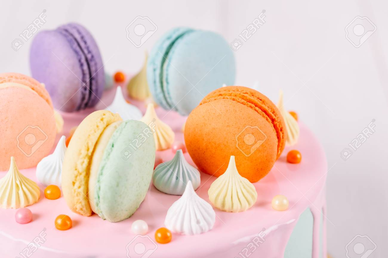 Magnificent Colorful Macaron Birthday Cake And Sweet Candy Topping Stock Photo Personalised Birthday Cards Paralily Jamesorg