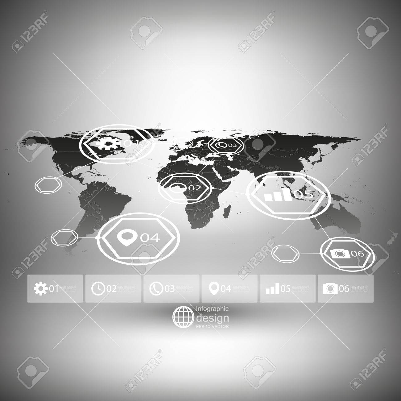 Black world map in perspective infographic vector template for black world map in perspective infographic vector template for business design stock vector 33661738 gumiabroncs Choice Image