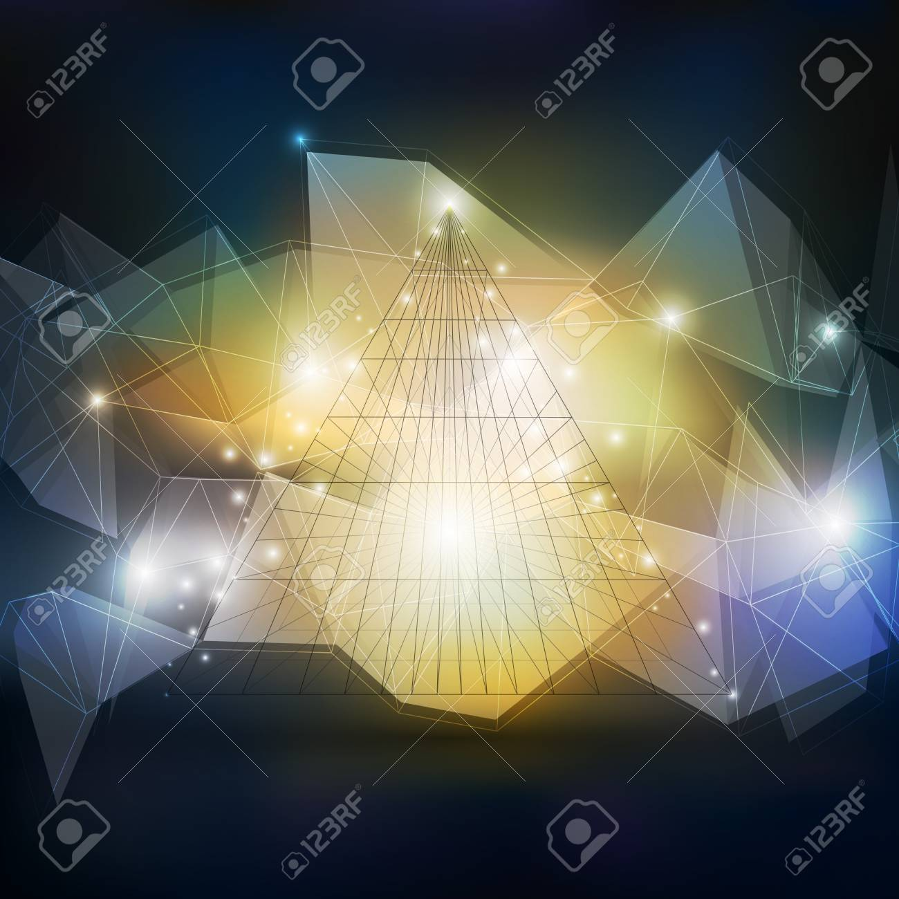 abstract 3d pyramid geometric colorful triangle design template