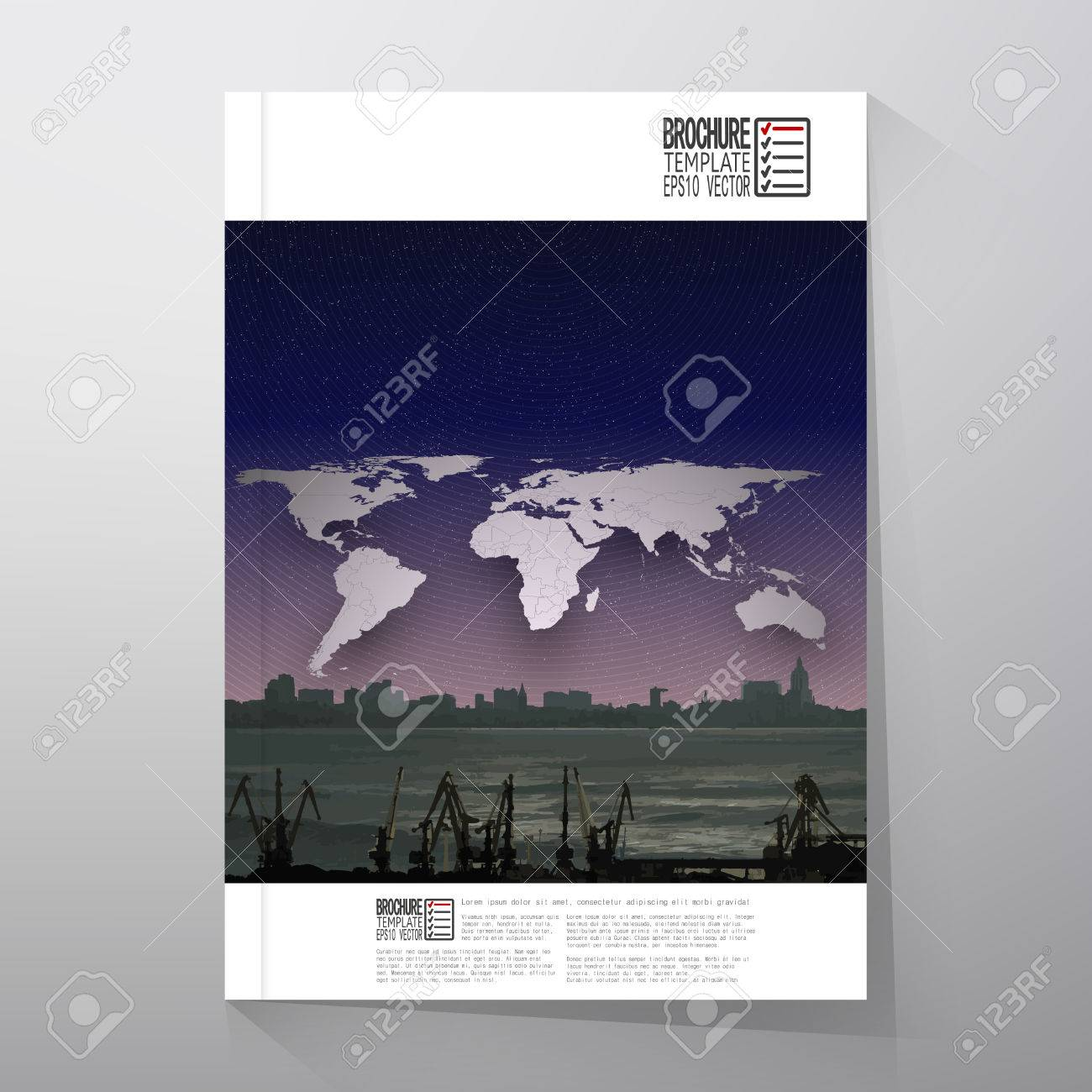 Shipyard and city landscape world map night design vector brochure shipyard and city landscape world map night design vector brochure flyer or report gumiabroncs Gallery