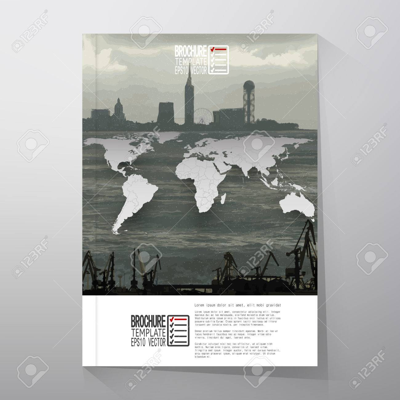 Shipyard and city landscape world map vector brochure flyer shipyard and city landscape world map vector brochure flyer or report for business gumiabroncs Images