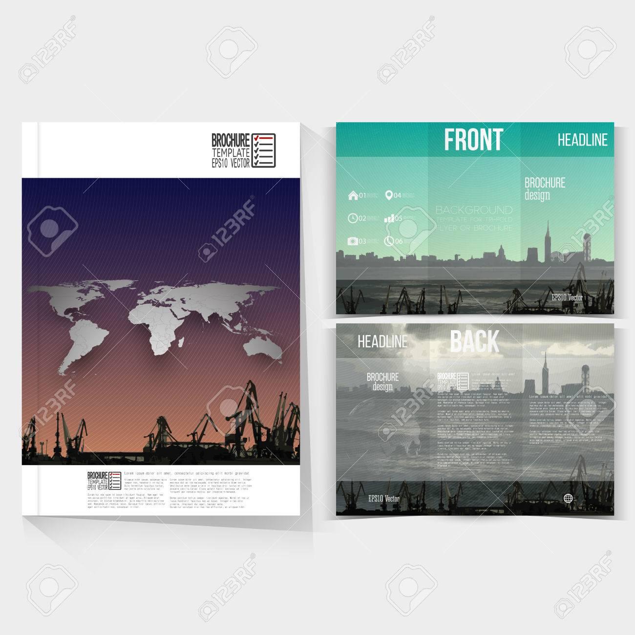 shipyard and city landscape brochure tri fold flyer or booklet