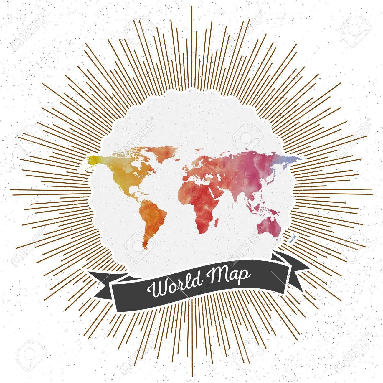 World map with vintage style star burst colorful rainbow watercolor vector world map with vintage style star burst colorful rainbow watercolor background retro element for your design gumiabroncs Gallery