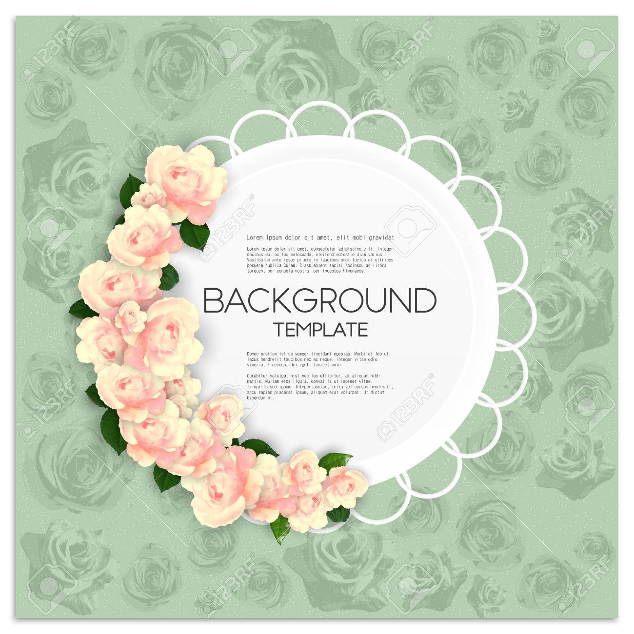 Marriage invitation card with place for text and pink flowers over banco de imagens marriage invitation card with place for text and pink flowers over green shabby background vector illustration stopboris Choice Image