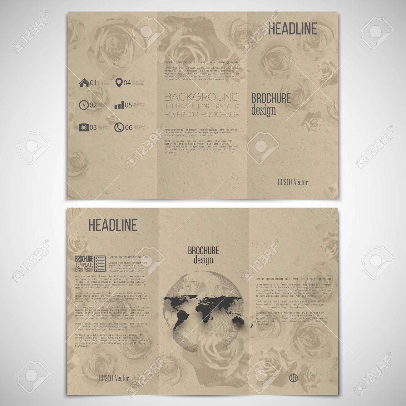 et of tri-fold brochure design template on both sides with world