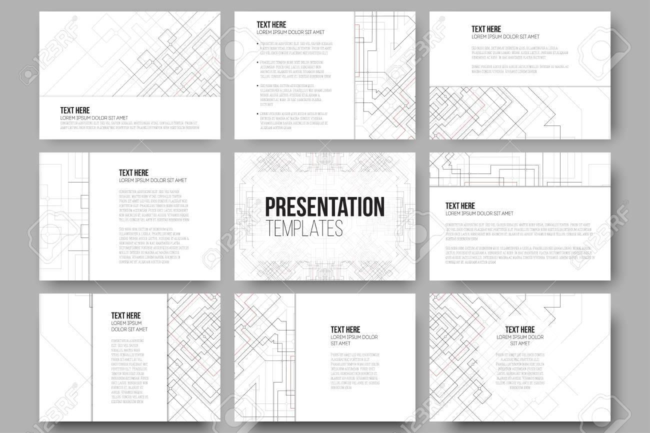 Set Von 9 Vorlagen Für Präsentationen Zusammenfassung Vektor