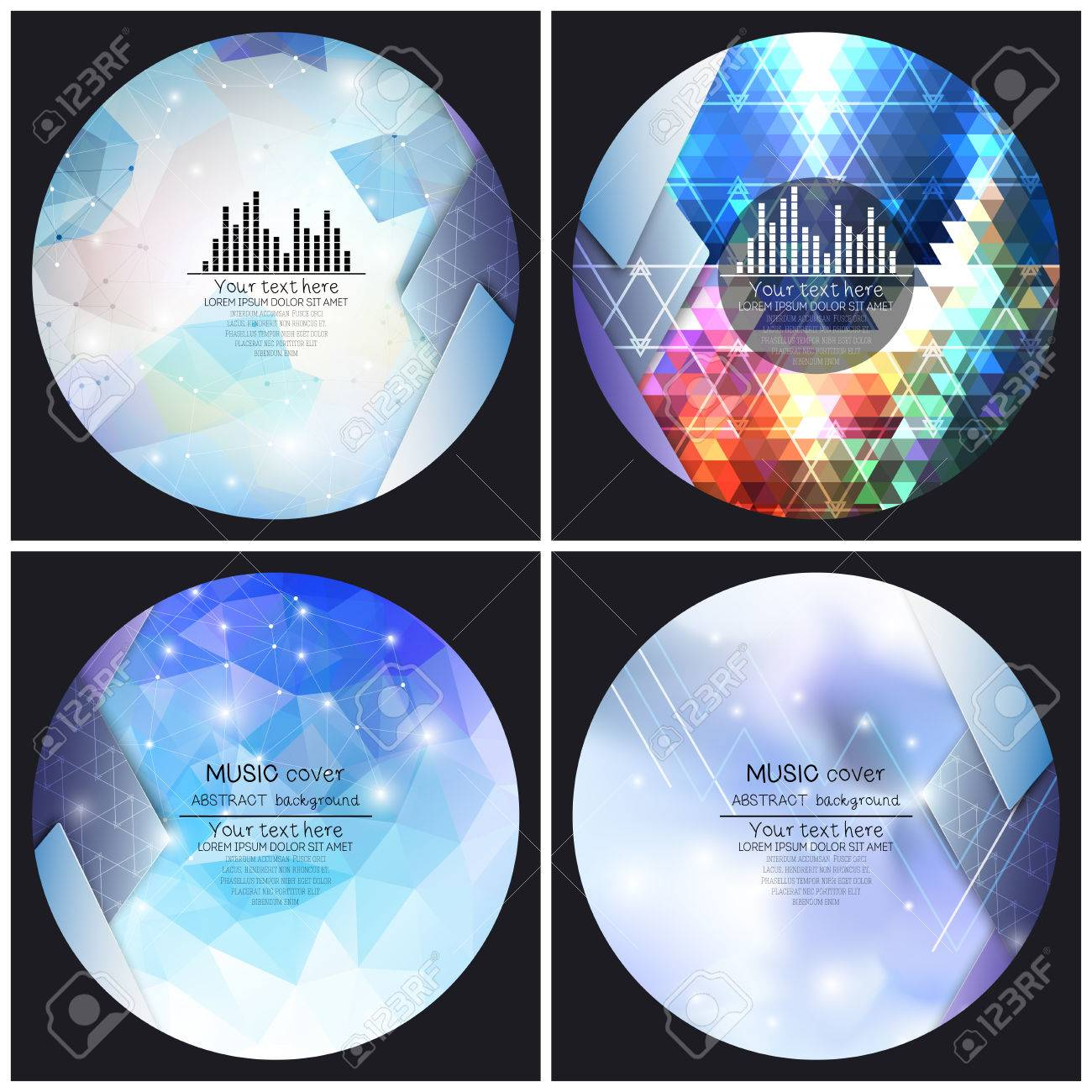 set of music album cover templates abstract backgrounds set of 4 music album cover templates abstract backgrounds geometrical patterns triangular style
