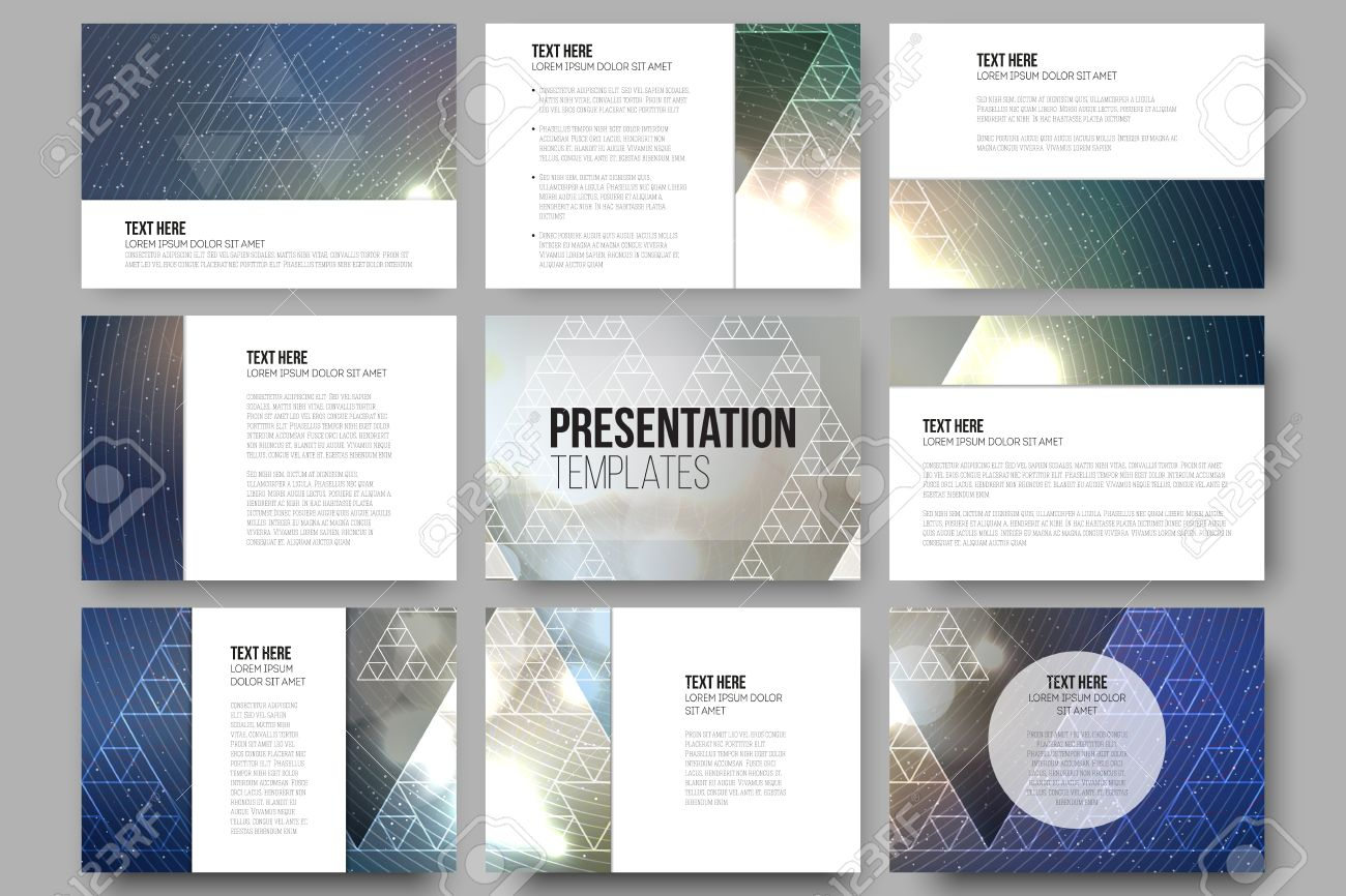 Set Of 9 Vector Templates For Presentation Slides. Colorful Graphic ...