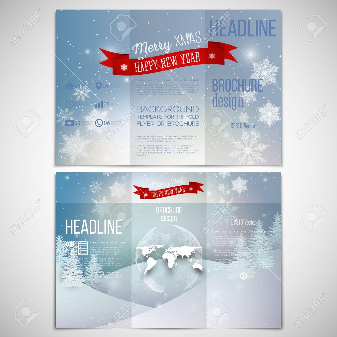 vector set of tri fold brochure design template on both sides