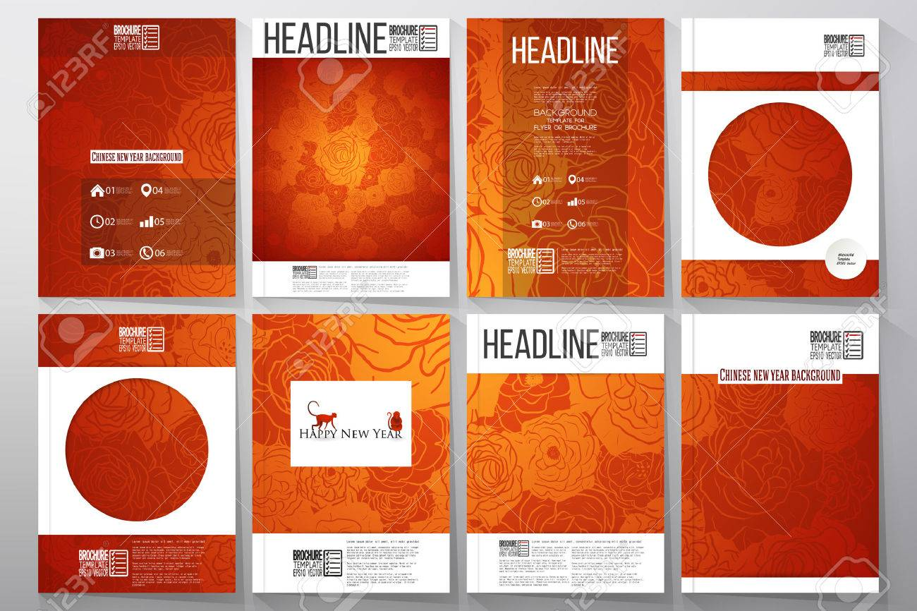 Set Of Business Templates For Brochure Flyer Or Booklet Chinese