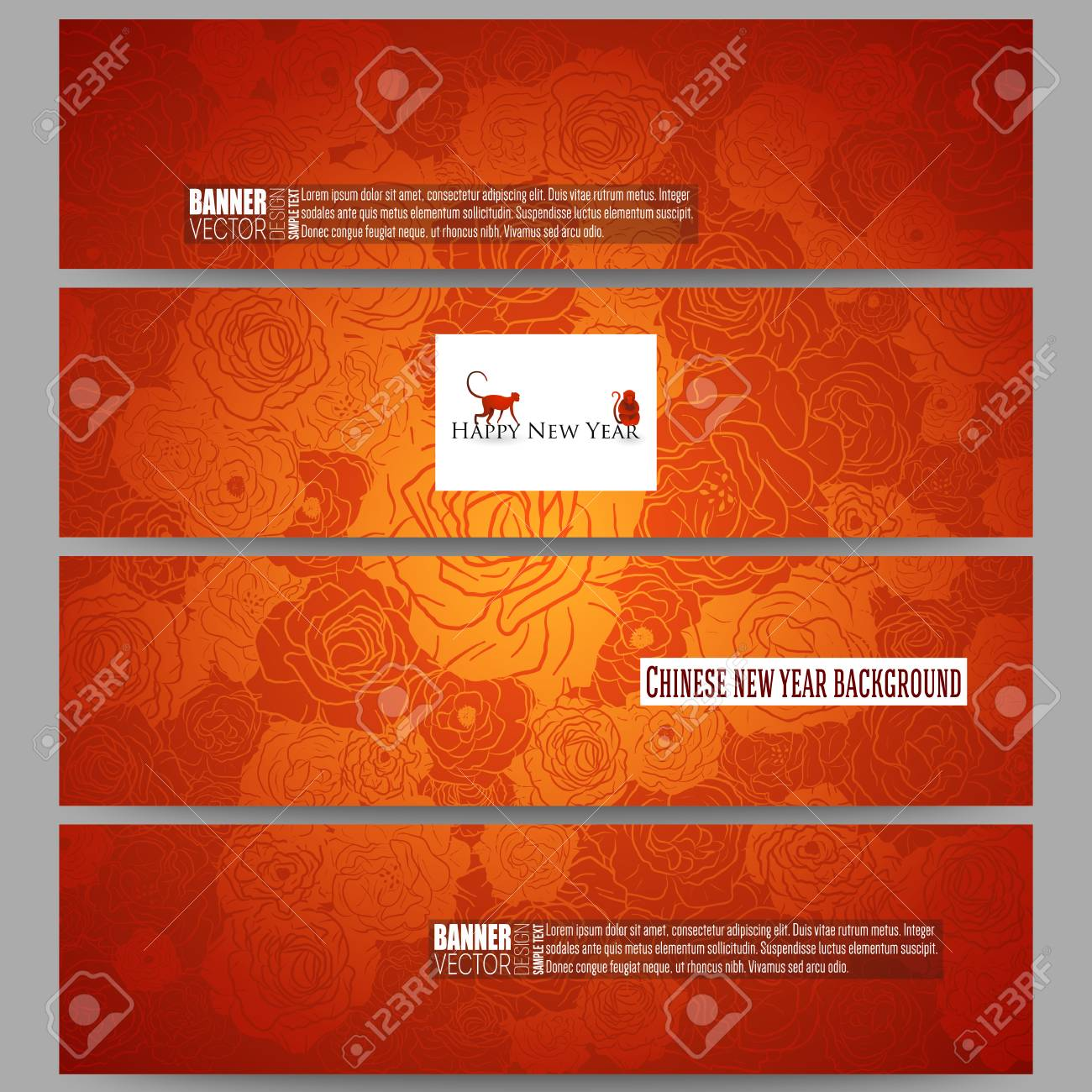 chinese new year background floral design with red monkeys