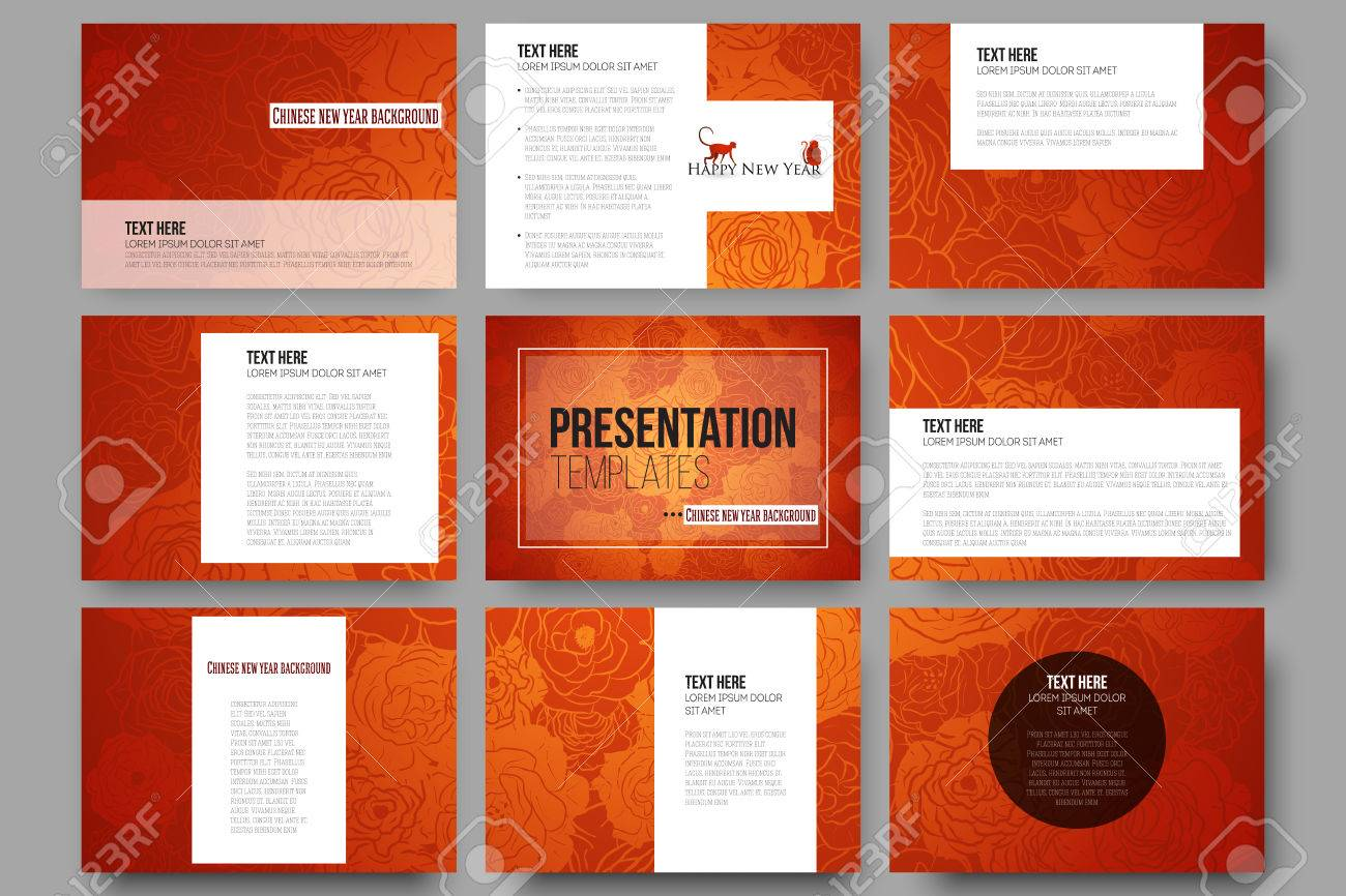 set of 9 vector templates for presentation slides chinese new year background floral design