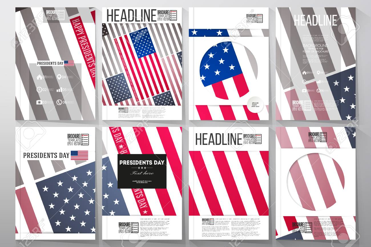 set of business templates for brochure flyer or booklet presidents day background with american