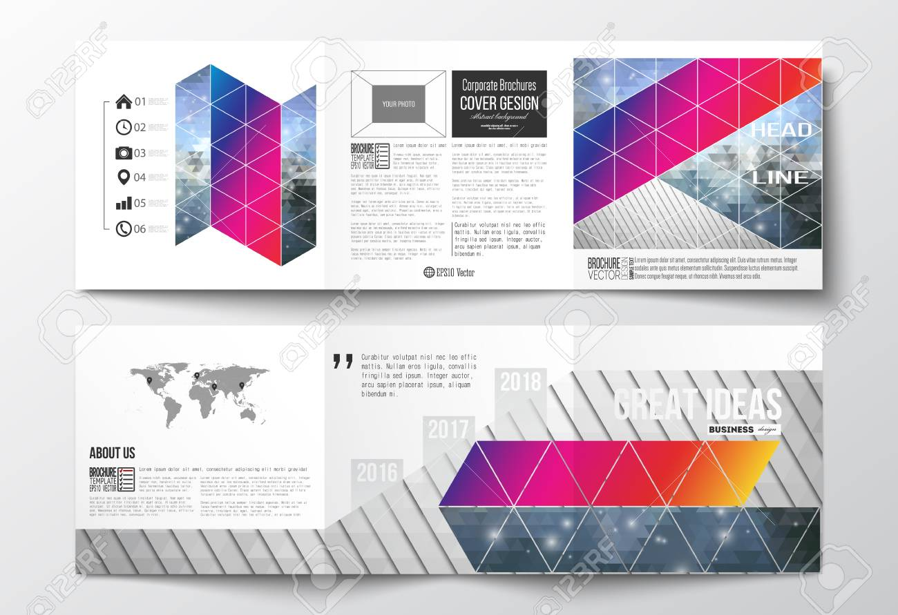Vector set of tri fold brochures square design templates with vector vector set of tri fold brochures square design templates with element of world map abstract colorful polygonal background modern stylish gumiabroncs Image collections