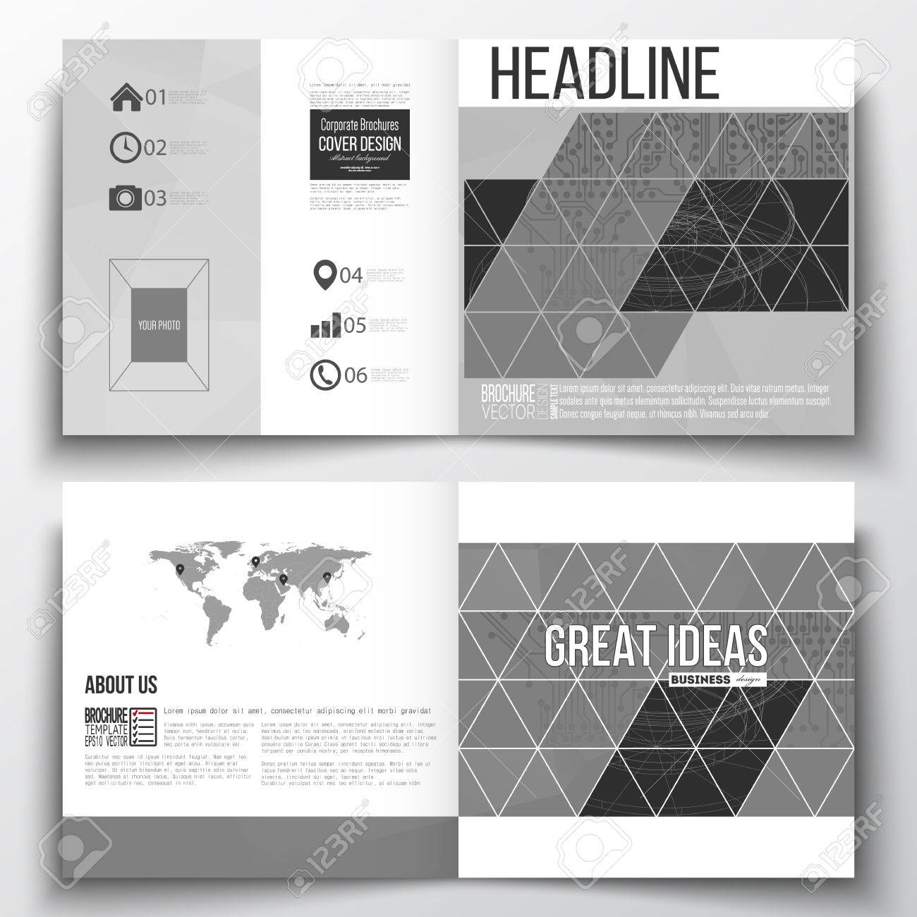 Vector Set Of Square Design Brochure Template. Microchip Background ...