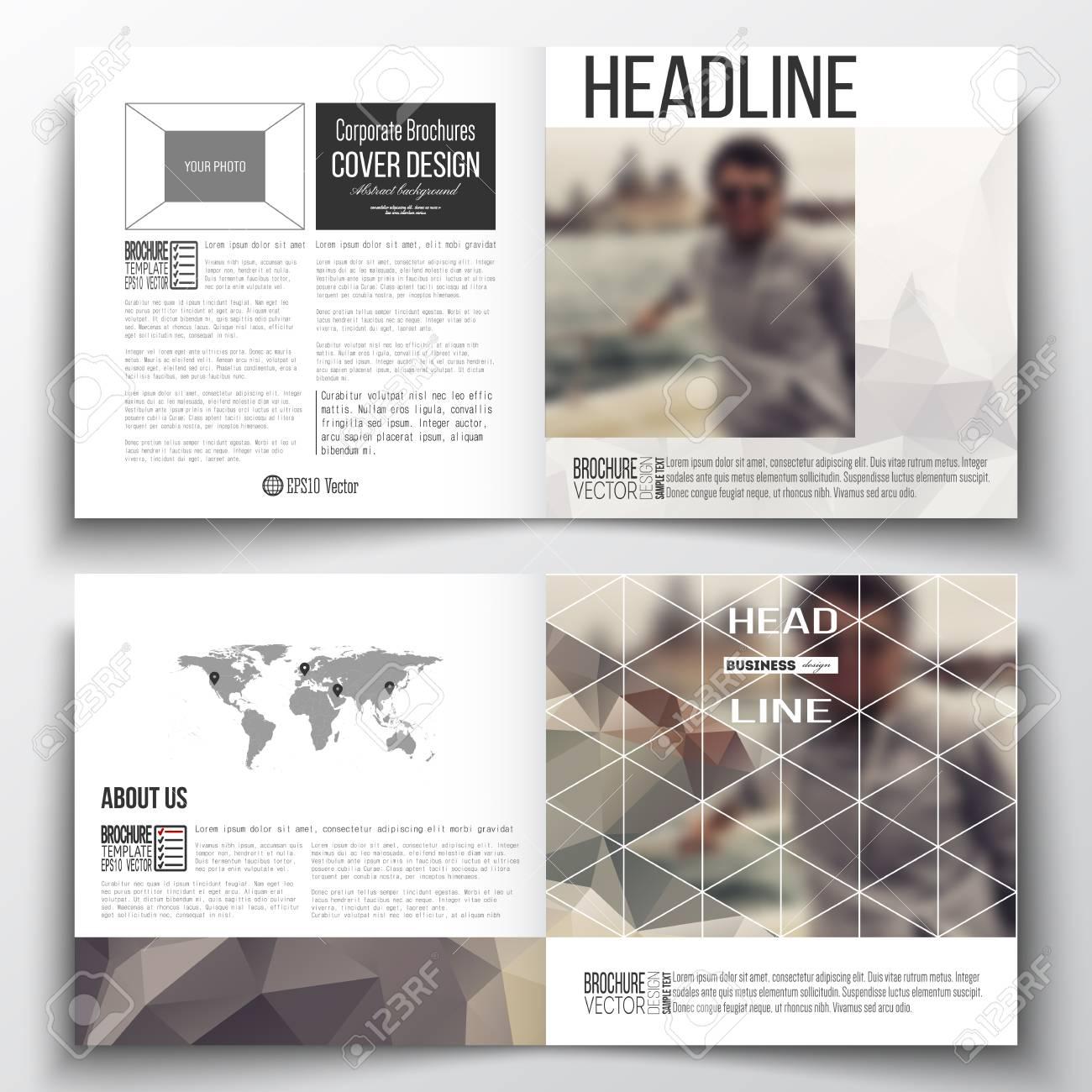 vector set of square design brochure template polygonal background