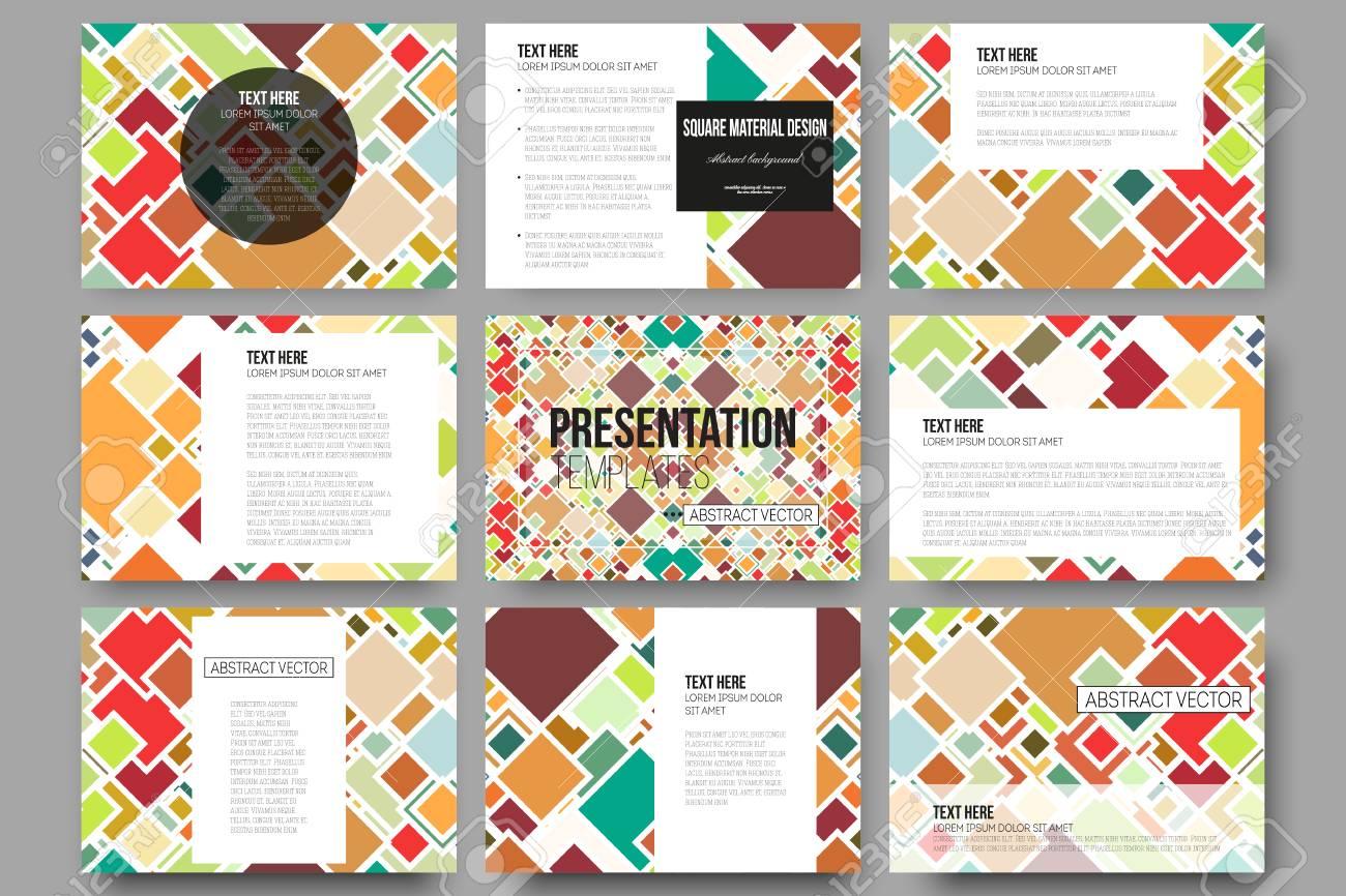 48e1b5f57559 Set of 9 vector templates for presentation slides. Material Design. Colored  vector background.