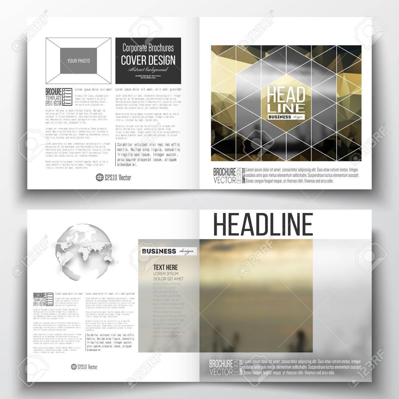 Set Quadratische Design-Broschüre Vorlage. Bunte Polygonalen ...