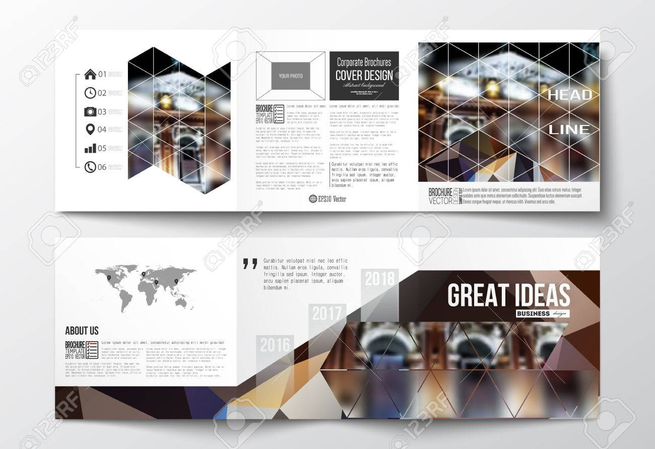 Vector Set Of Trifold Brochures Square Design Templates With - Us map fold