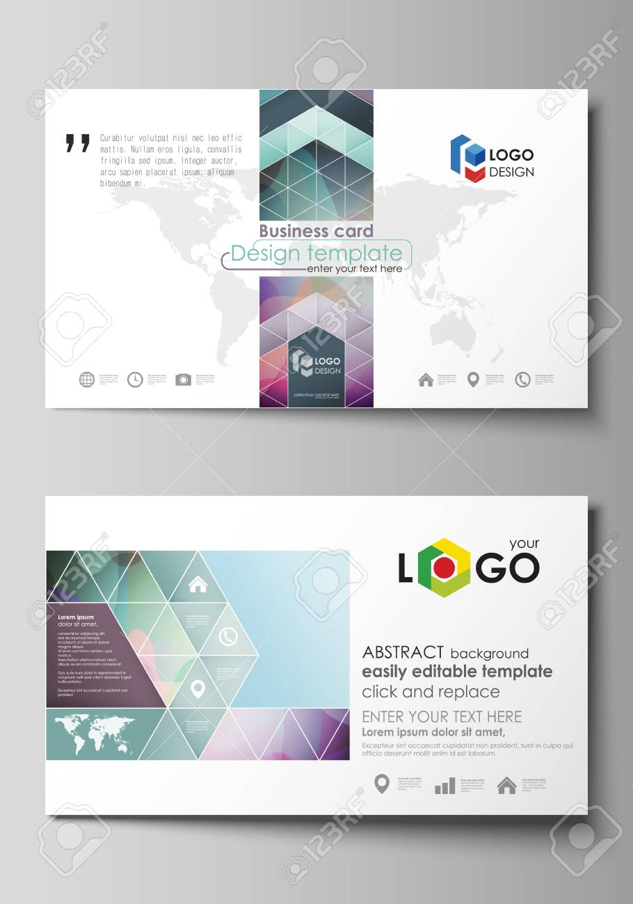 Business Card Templates Easy Editable Layout Abstract Flat
