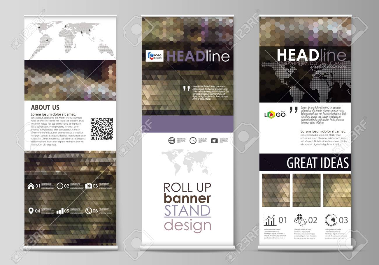 set of roll up banner stands flat design templates corporate