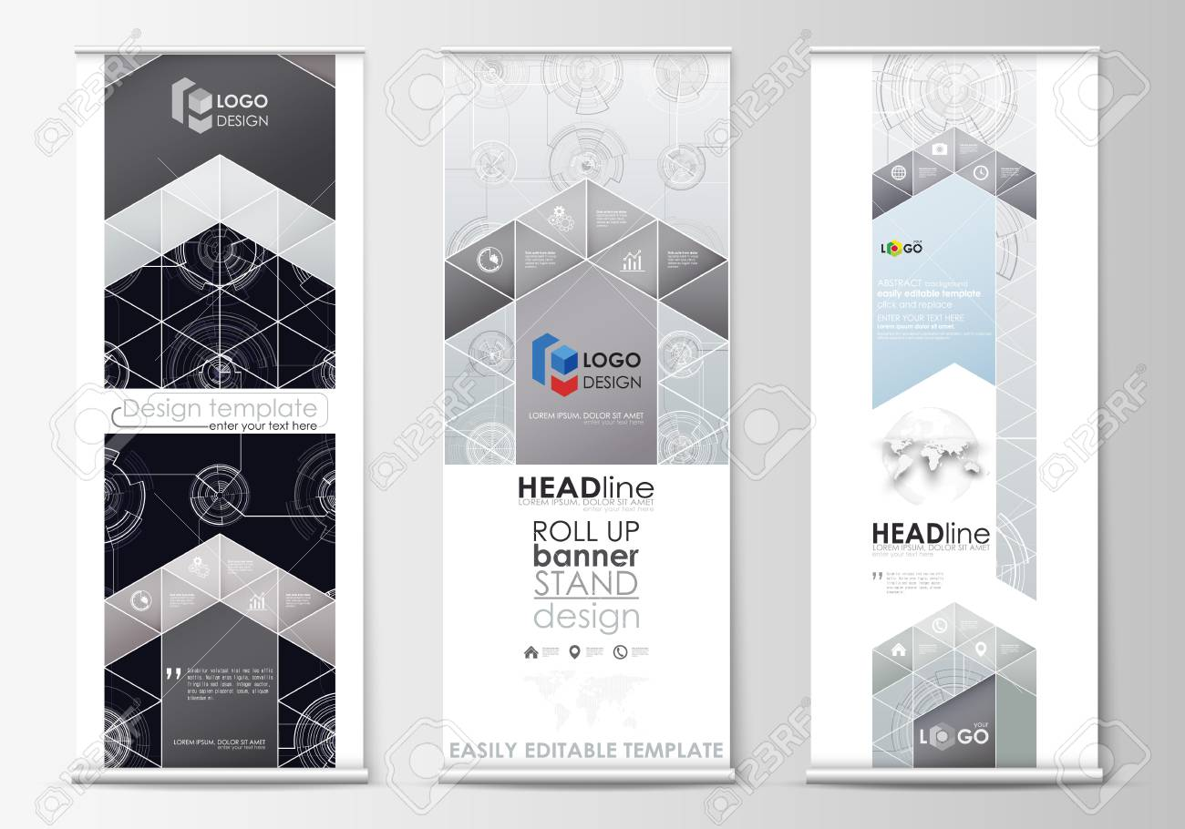 roll up banner stands flat templates geometric style corporate