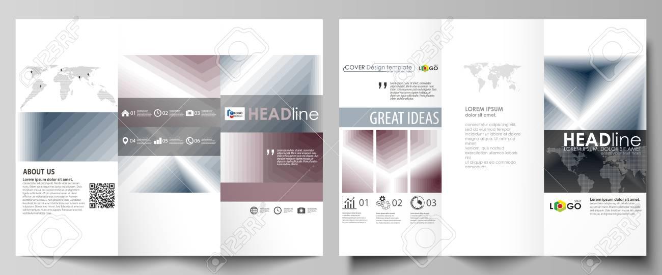 337c3262d7542 Foto de archivo - Plantillas de negocios tríptico folleto en ambos lados.  Diseño vectorial editable fácil en diseño plano. Patrón geométrico simple  ...