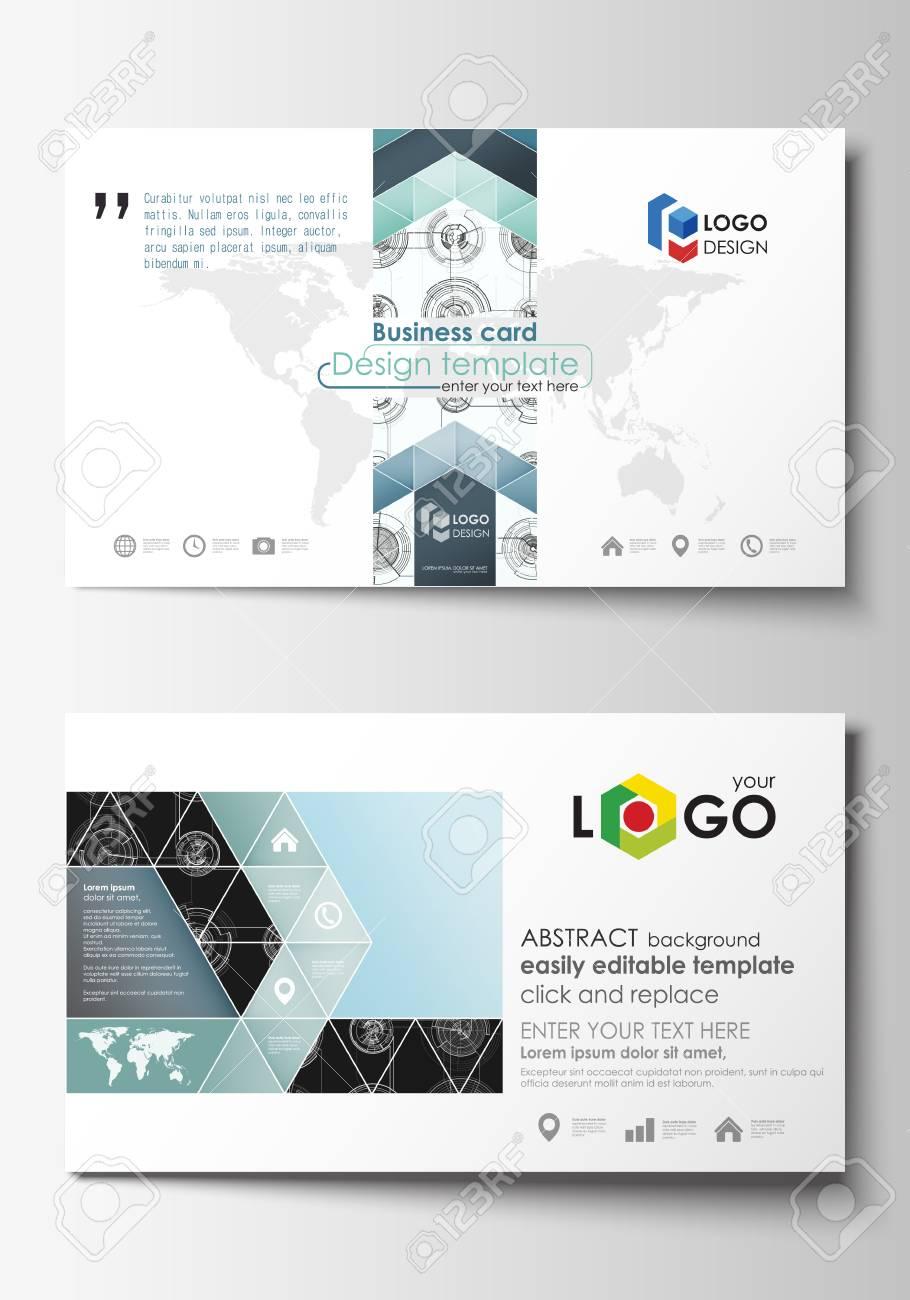 Modelos De Cartão De Visita Layouts Editáveis Fáceis Modelo De Estilo Simples Ilustração Vetorial Design De Alta Tecnologia Sistema De Conexão