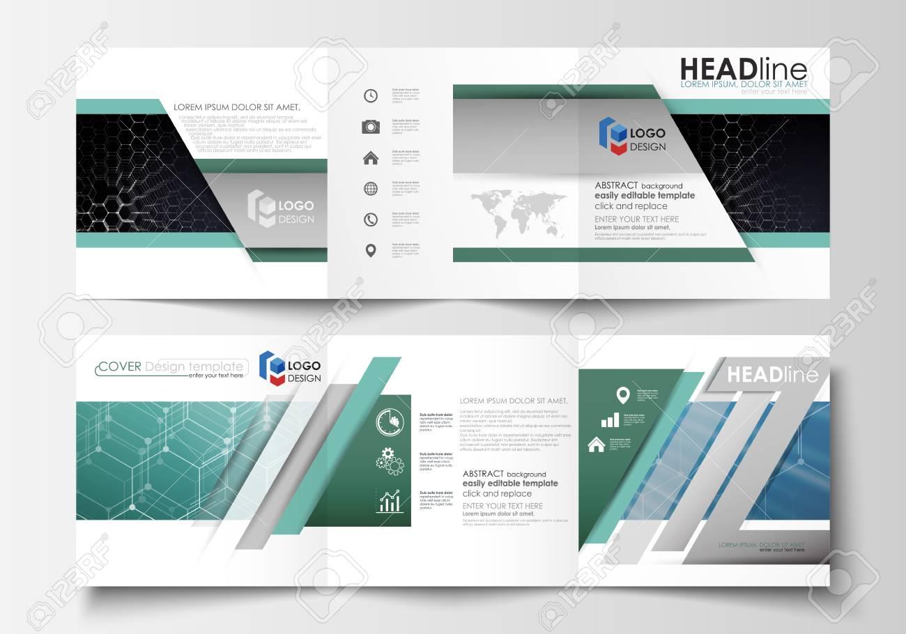 Set Of Business Templates For Tri Fold Brochures Square Design