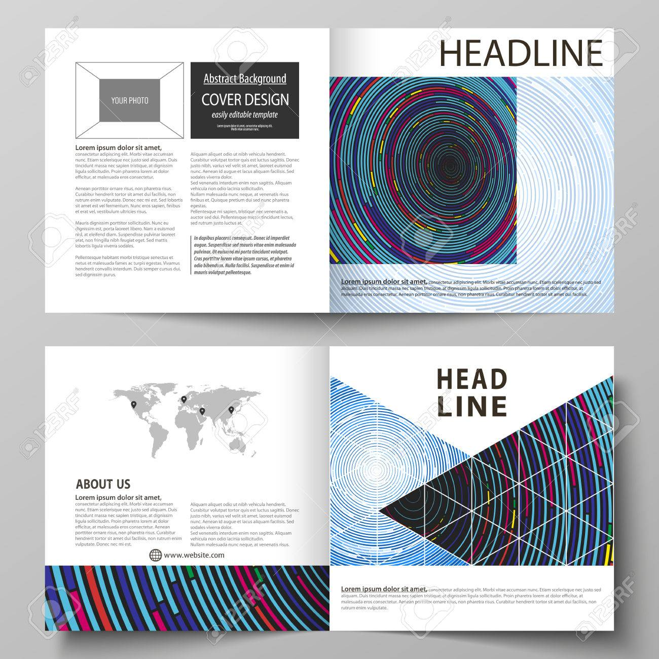 Business-Vorlagen Für Quadratische Design-Bi-Fold-Broschüre, Magazin ...