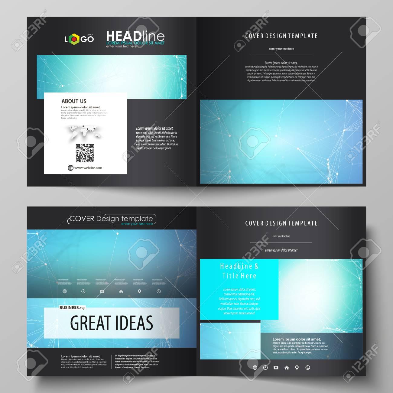 Business Templates For Square Design Bi Fold Brochure Flyer Leaflet Cover Vector Layout
