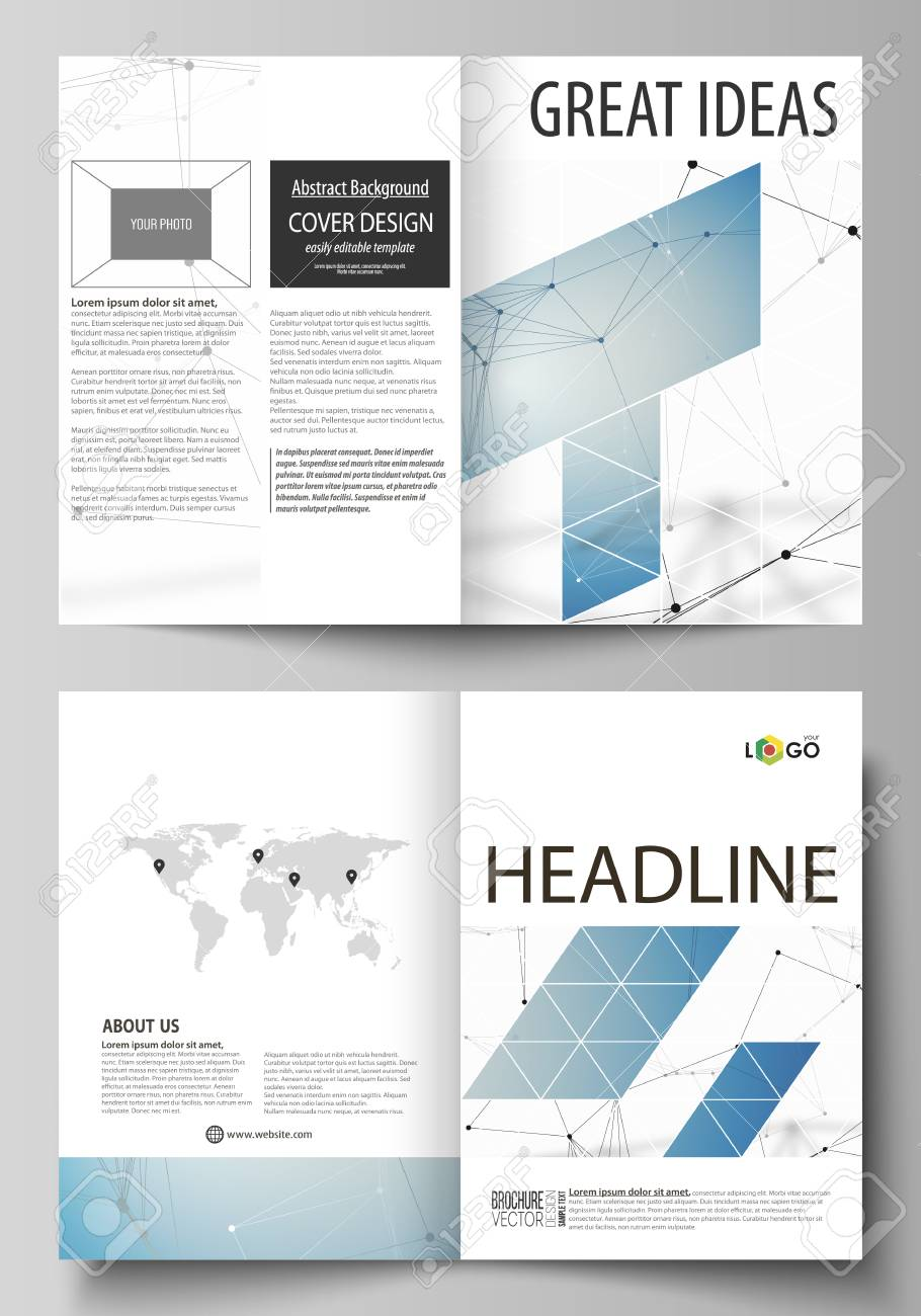 Business Templates For Bi Fold Brochure Magazine Flyer Cover Design Template Vector