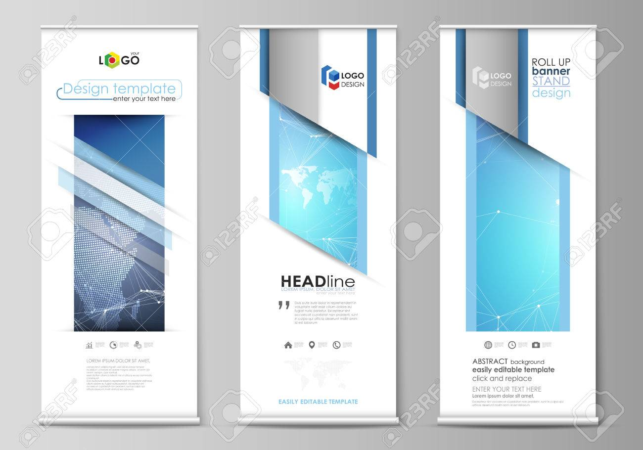 layout of roll up banner stands vertical flyers flags design