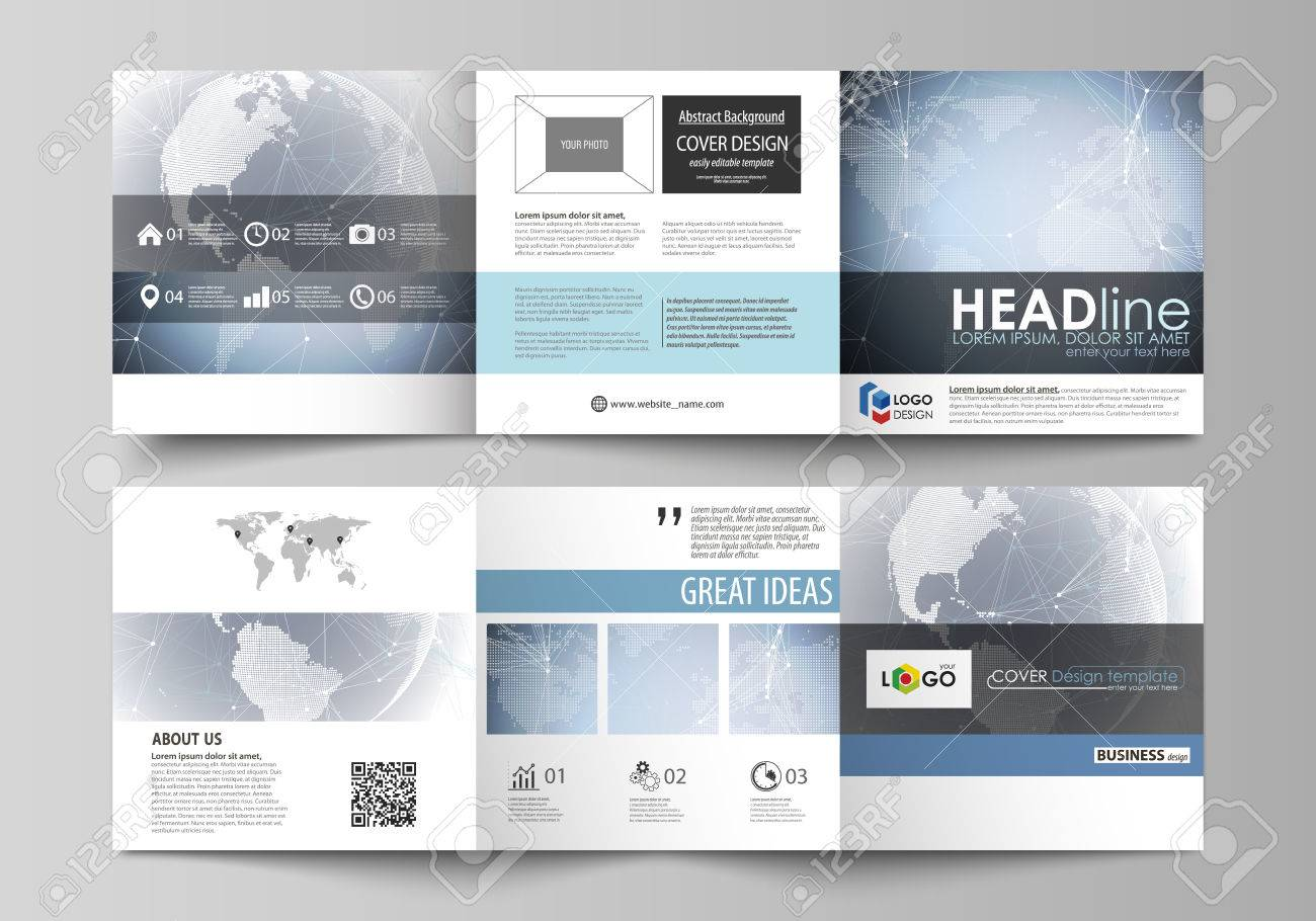two creative covers design templates for square brochure abstract