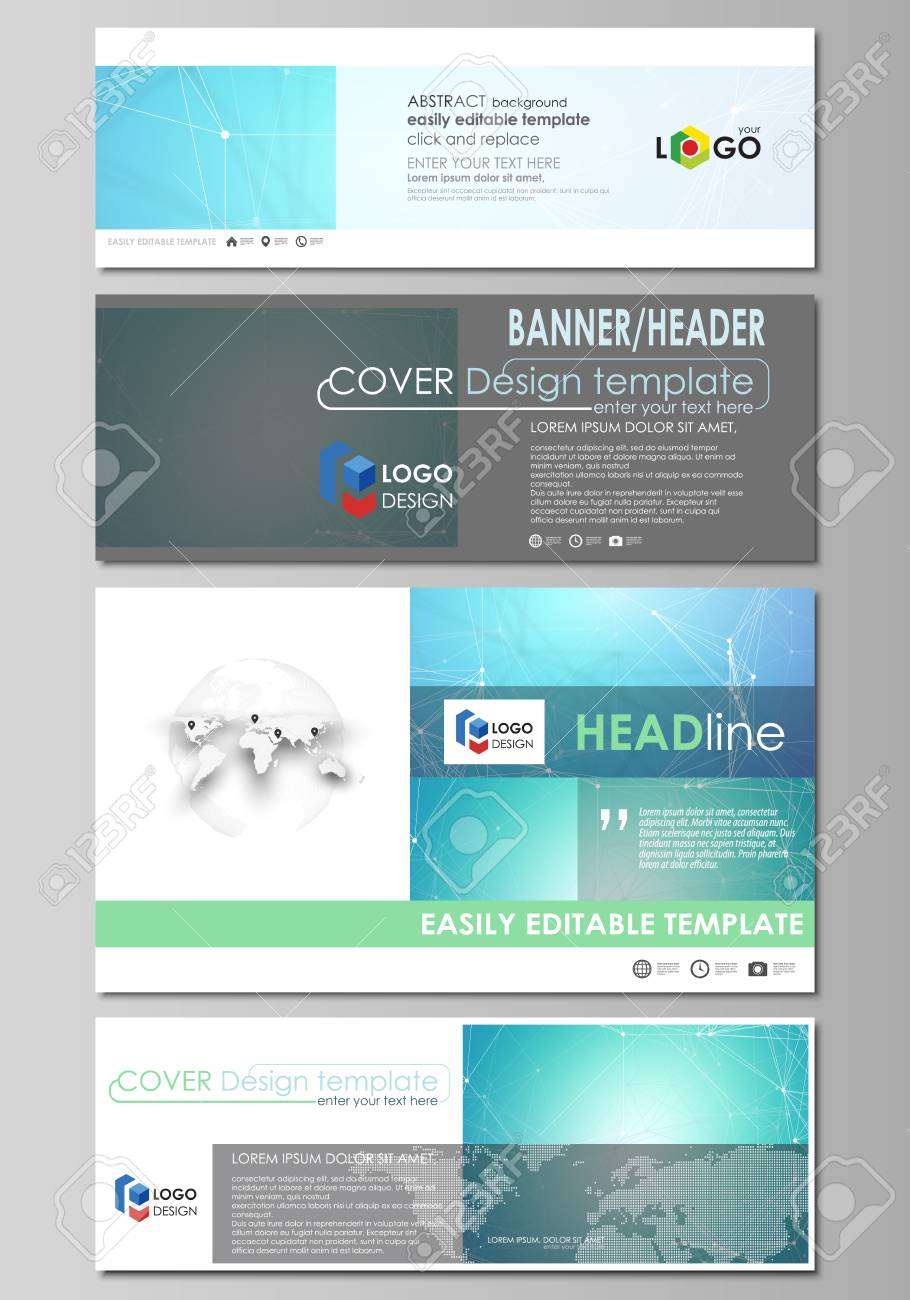 social media and email headers set modern banners abstract