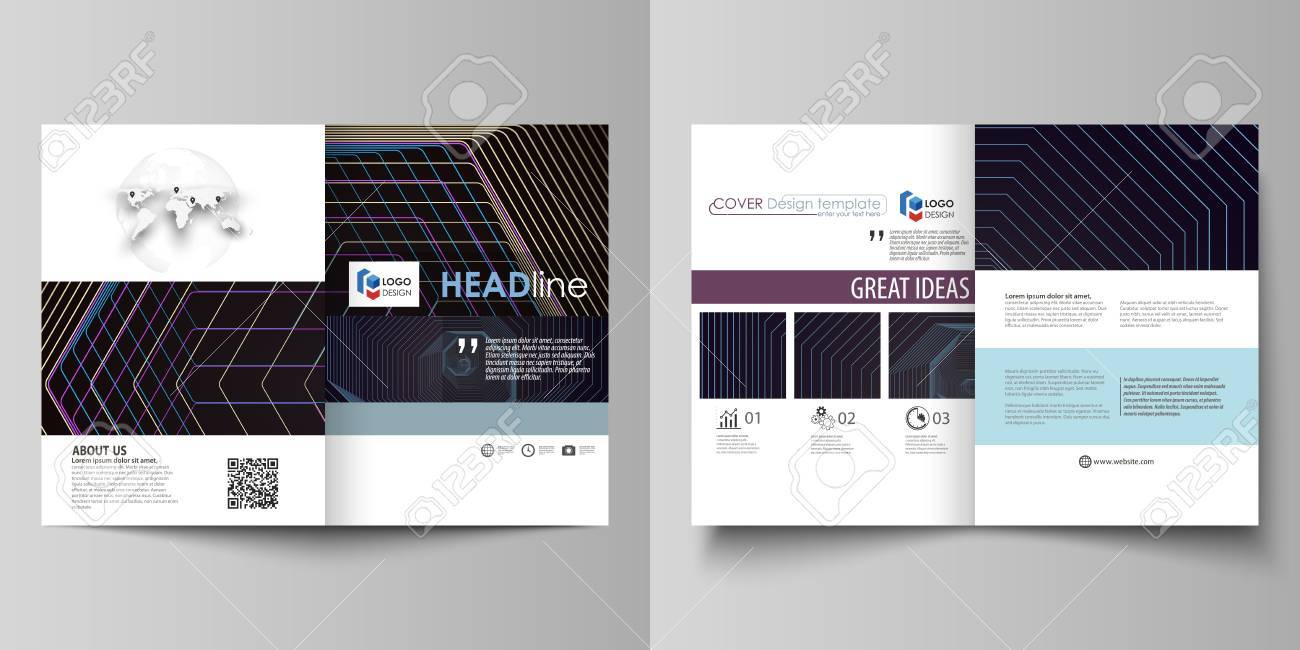 Business Templates For Bi Fold Brochure Flyer Booklet Report Cover Template