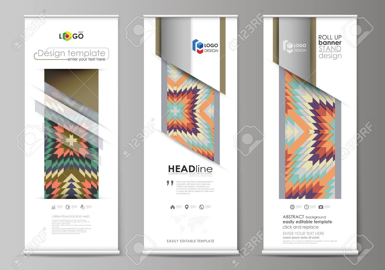 roll up banner stands abstract design geometric style templates