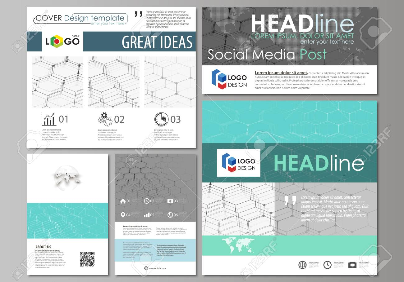 Social Media Posts Set Business Templates Abstract Design Template - Template for social media posts