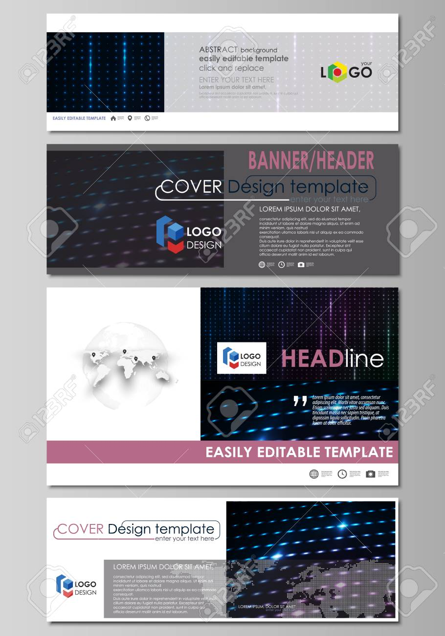 Social Media And Email Headers Set Modern Banners Templates
